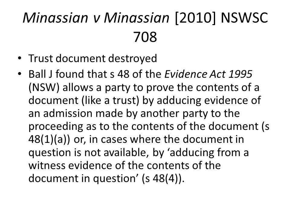Minassian v Minassian [2010] NSWSC 708